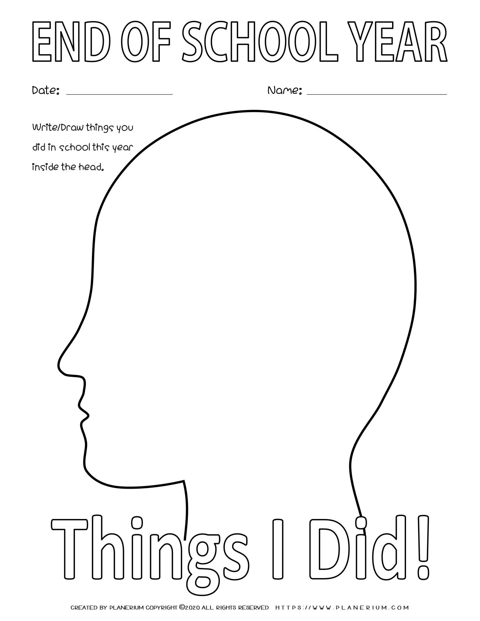 End of Year - Worksheet - Review Things I Did