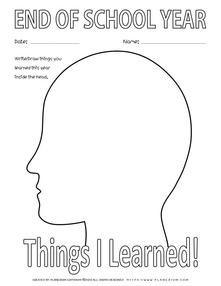 End of Year - Worksheet - Review Things I Learned
