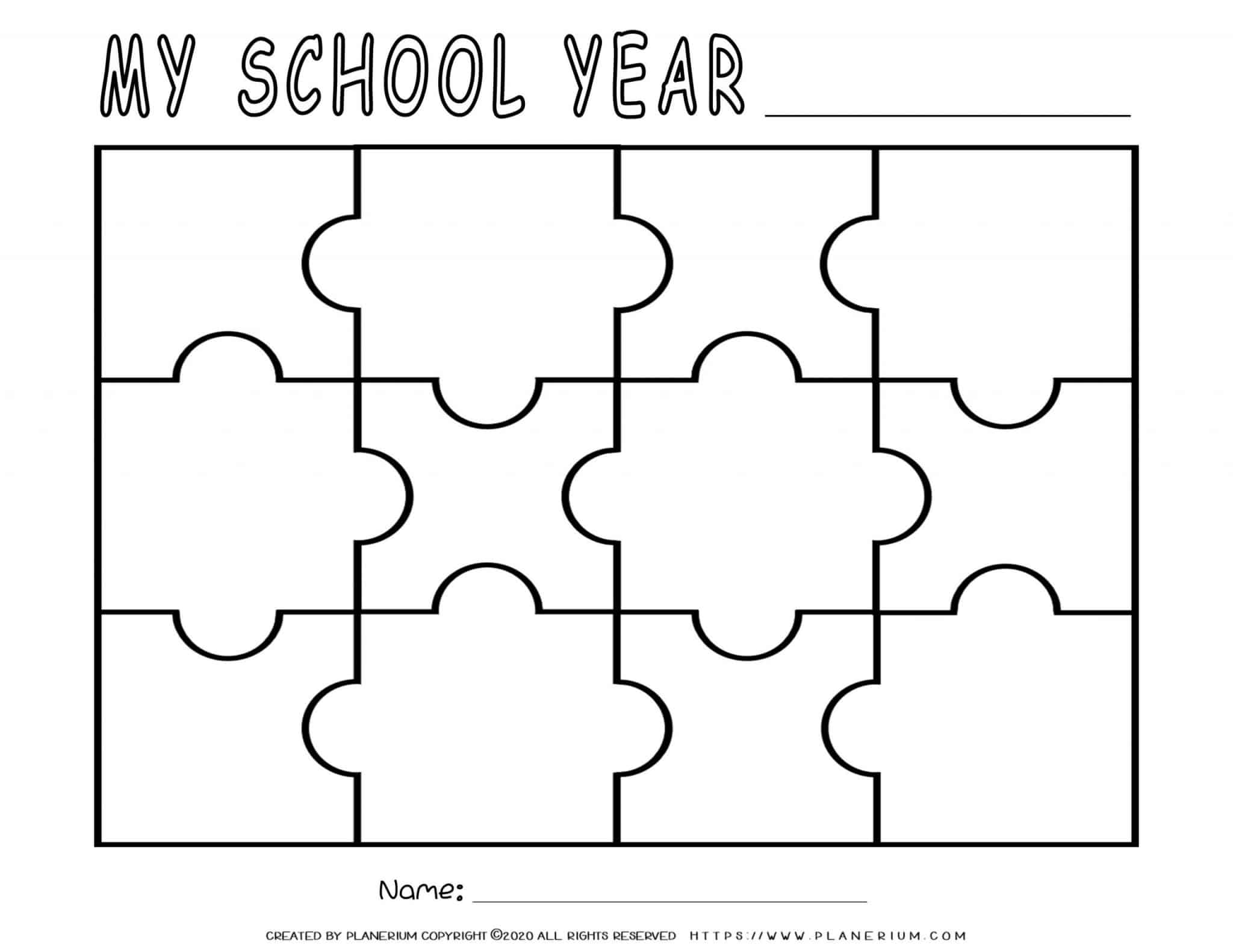 End of Year - Worksheet - School Year Review Puzzle