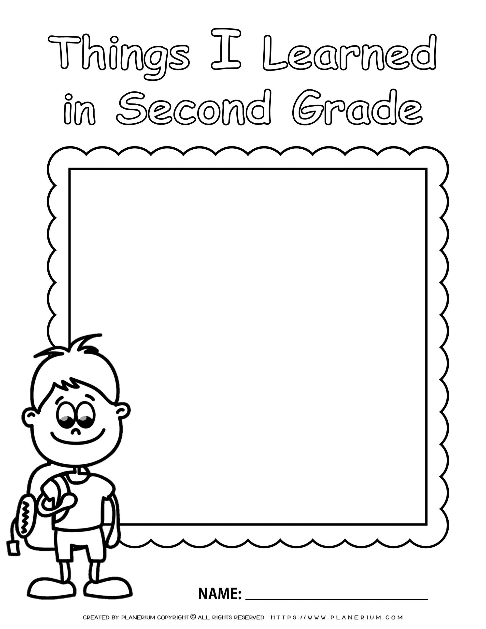 End of Year - Worksheet - Review Second Grade - Boy