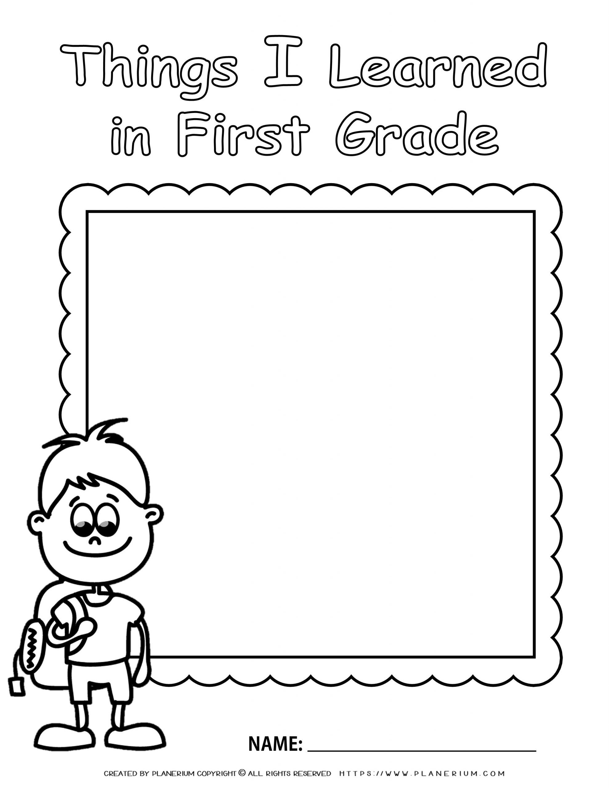 End of Year - Worksheet - Review First Grade - Boy