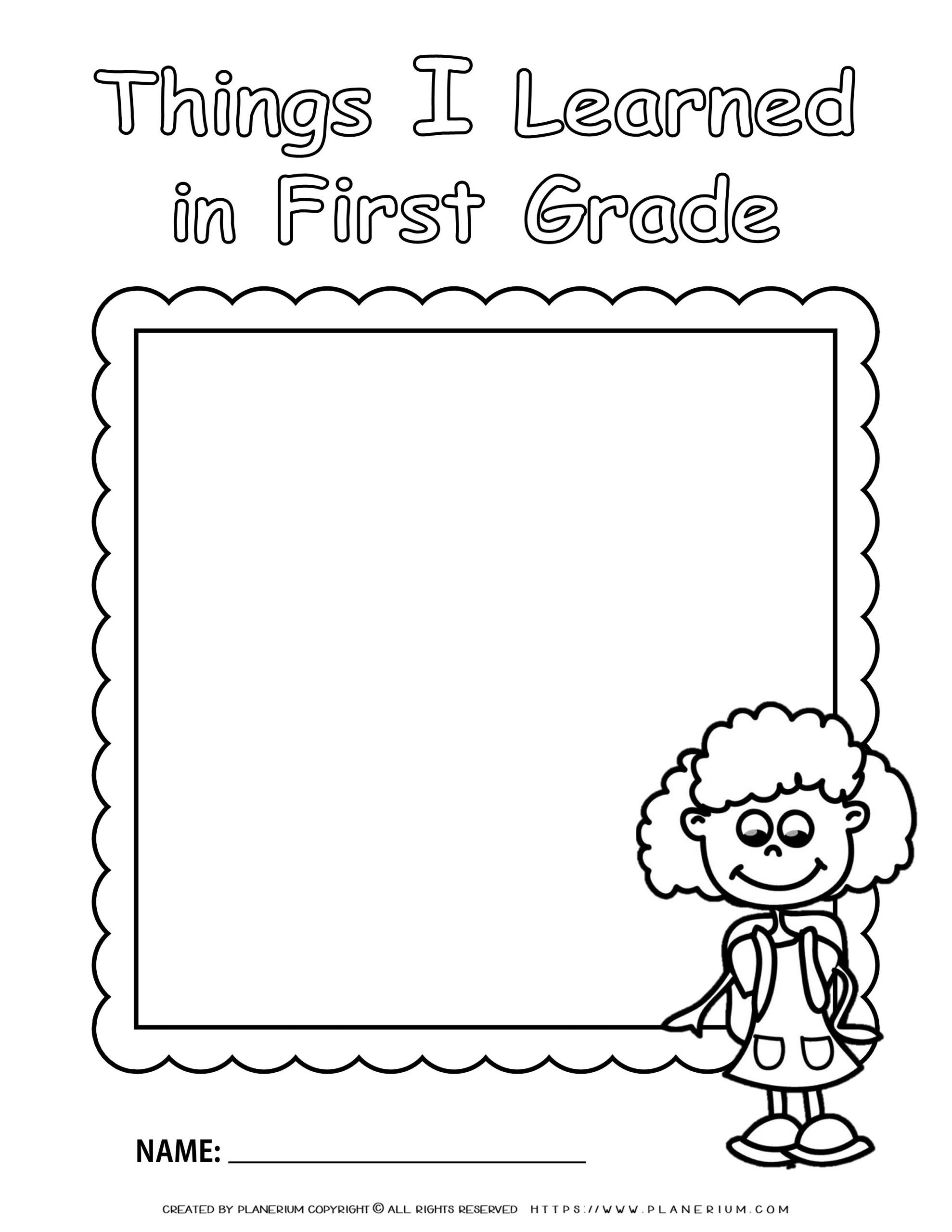 End of Year - Worksheet - Review First Grade - Girl