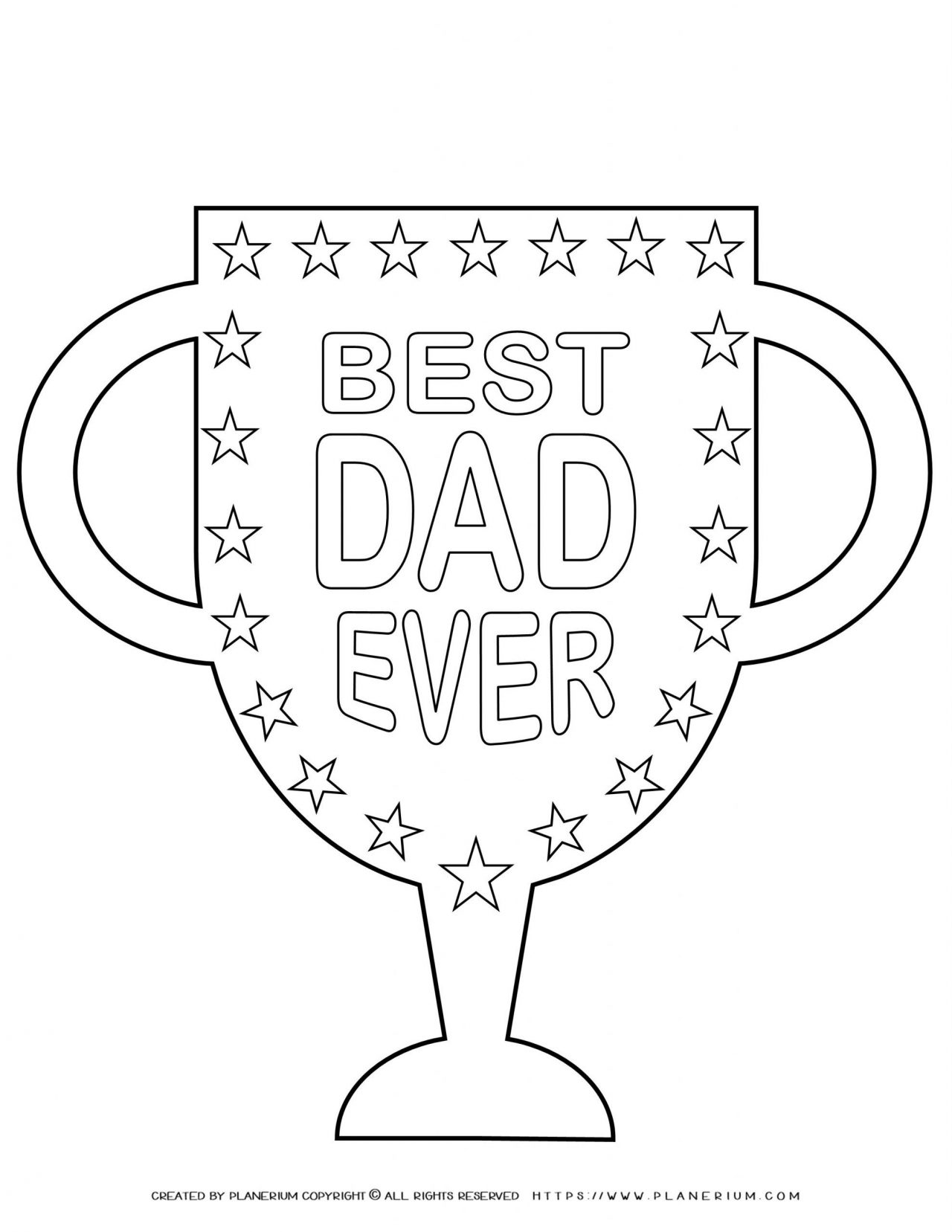 Father's Day - Coloring Page - Best Dad Ever Trophy