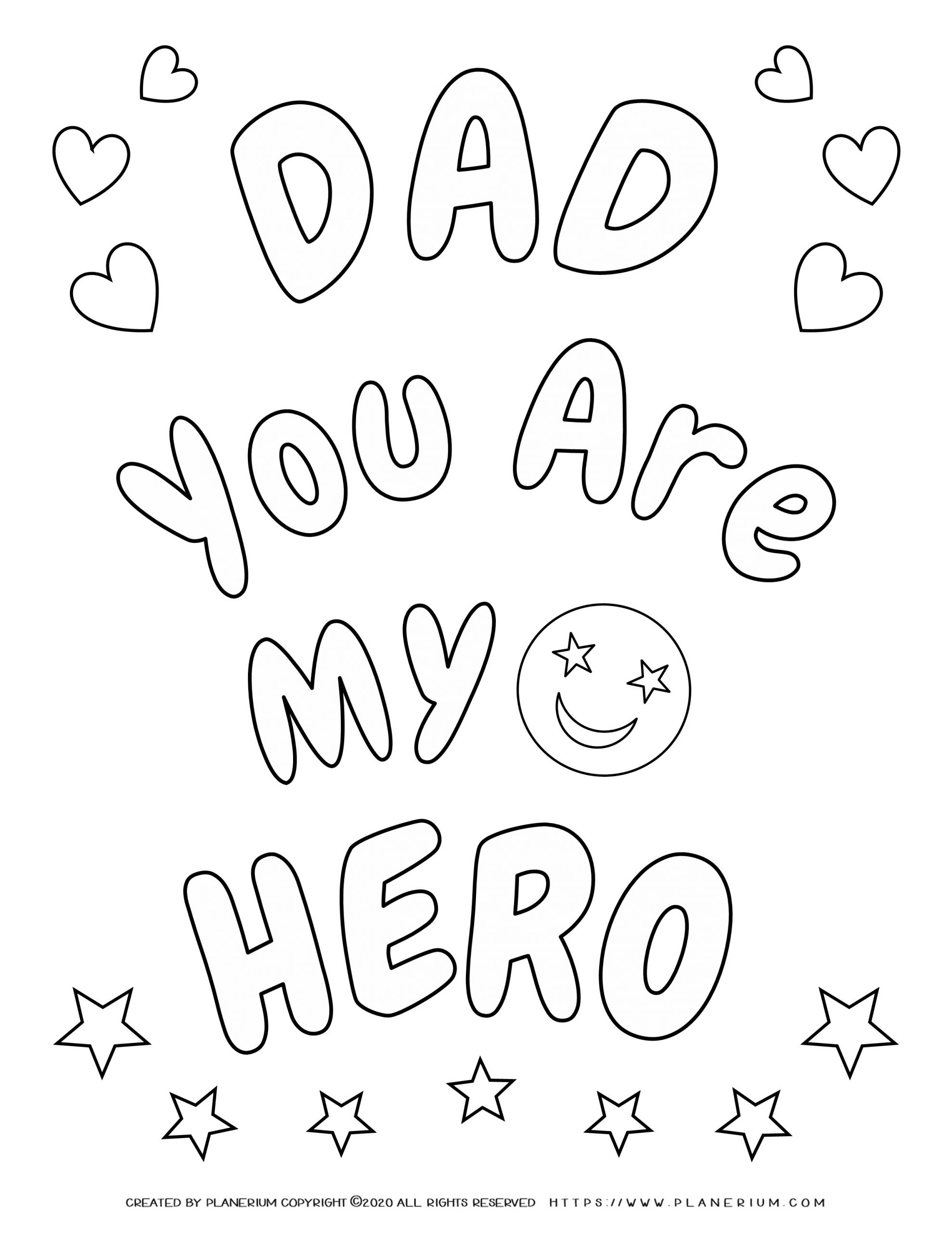Father's Day - Coloring Page - My Hero