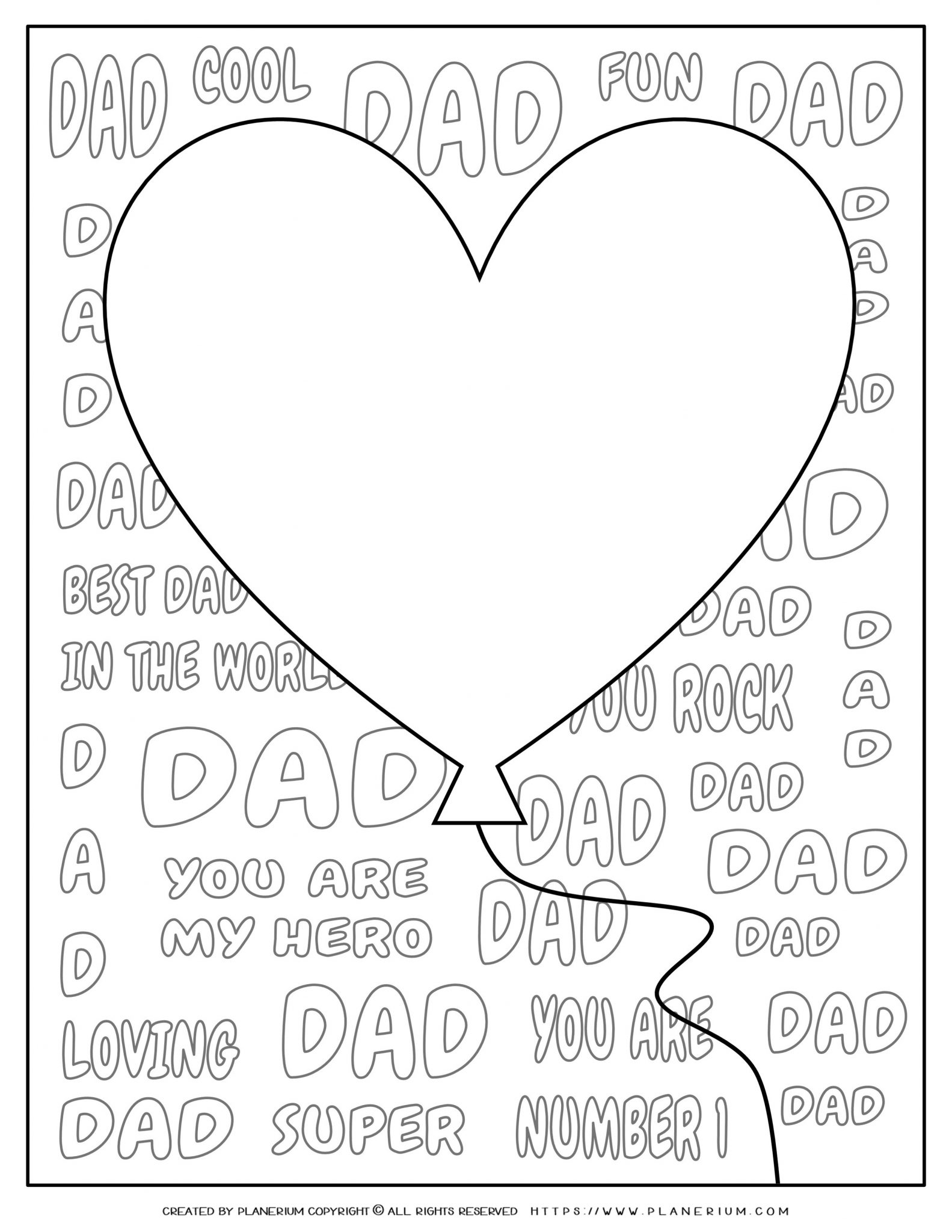 Father's Day - Coloring Page - Big heart balloon