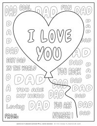 Father's Day - Coloring Page - Greeting card I love you