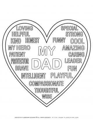 Father's Day - Coloring Page - Big heart dad words
