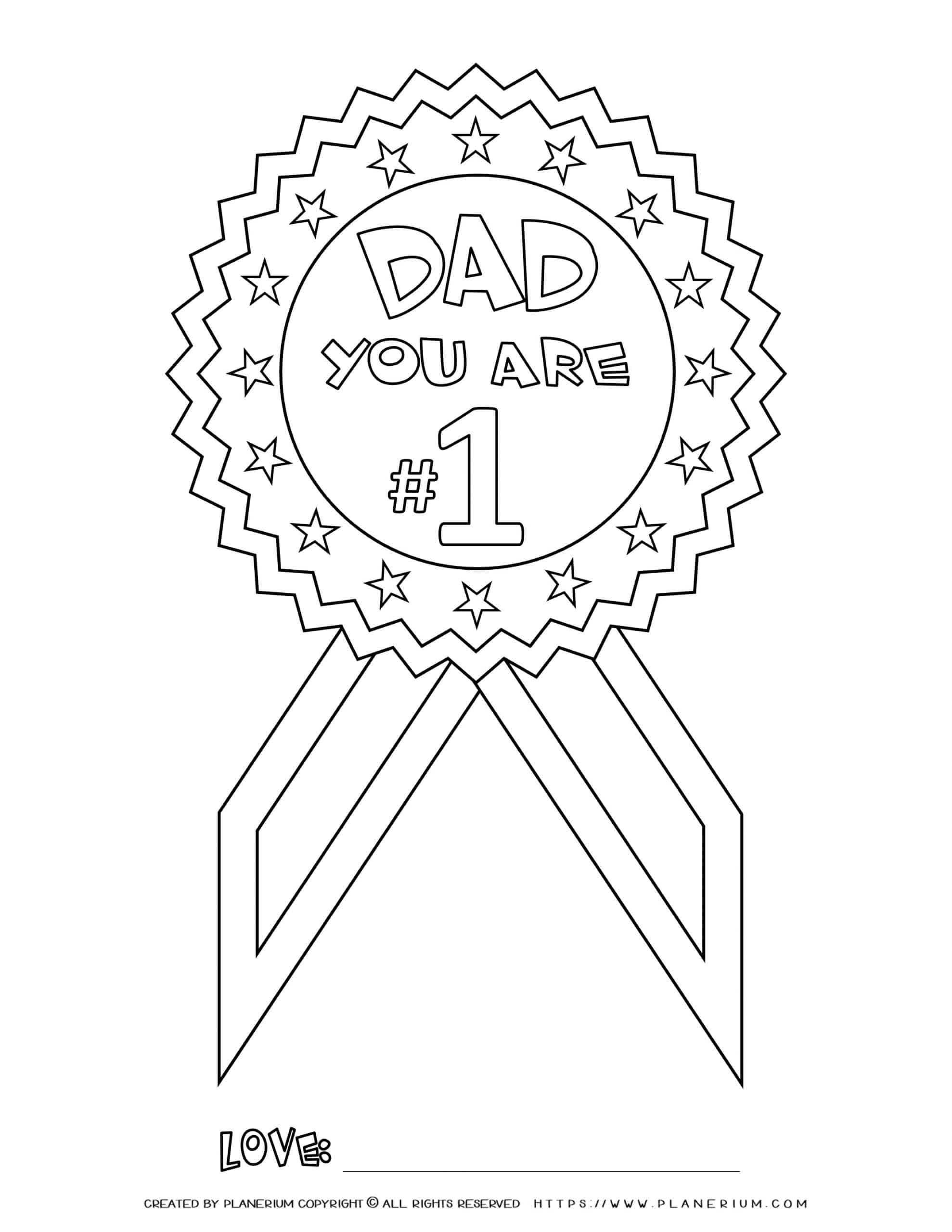 Father's Day - Coloring Page - You're No. 1 Medal