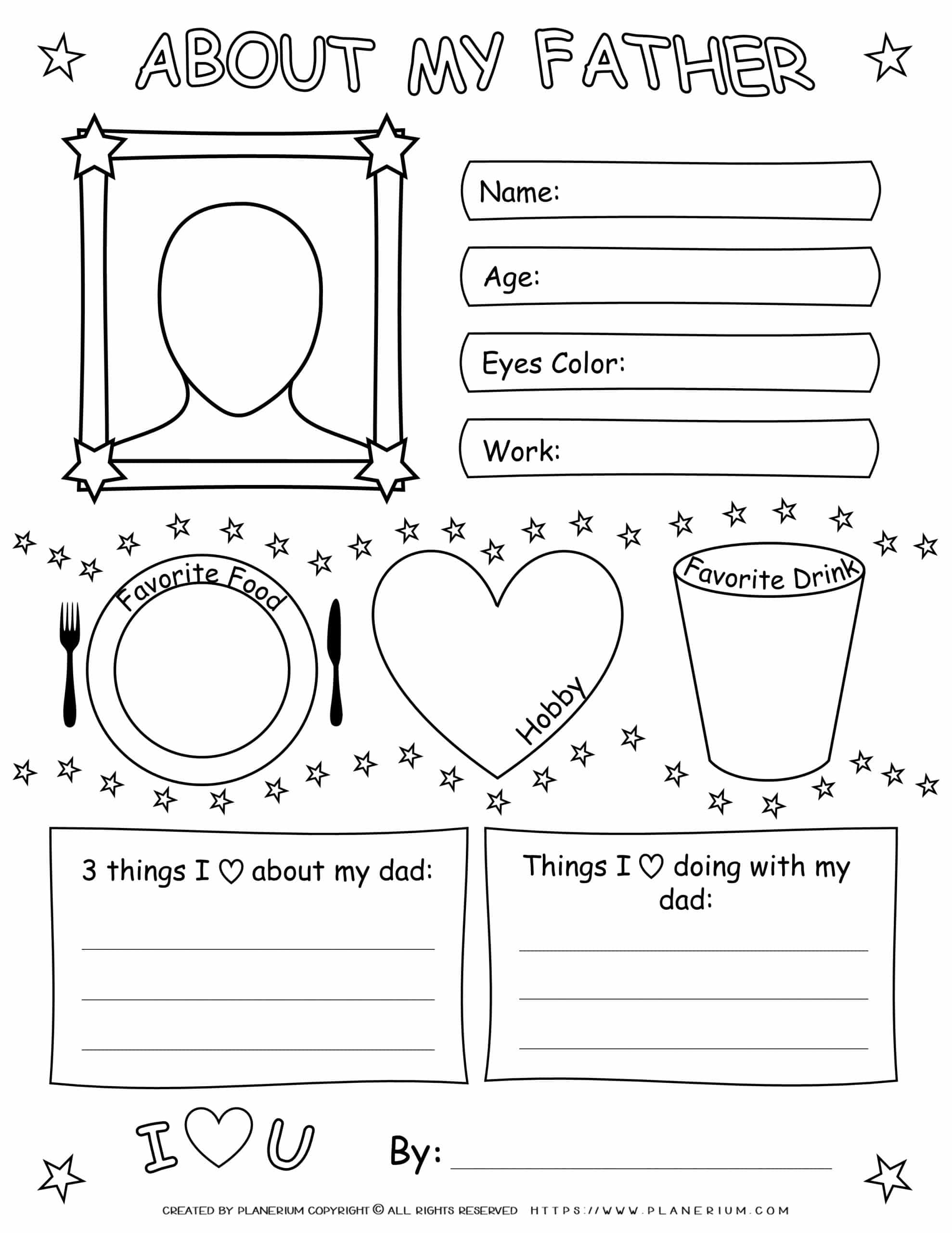 Father's Day - Worksheet - About My Dad