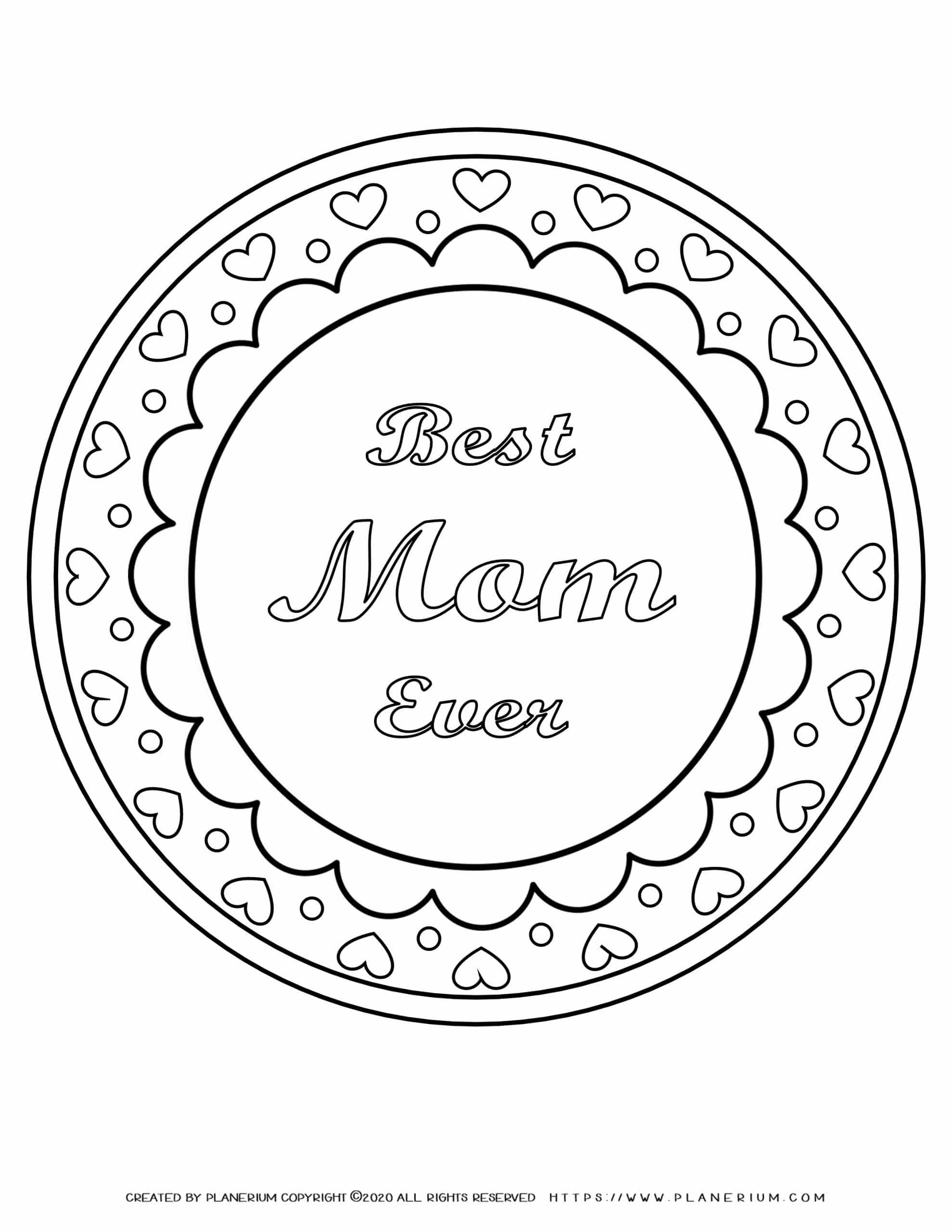Mother's day - Coloring Page - Best Mom Ever
