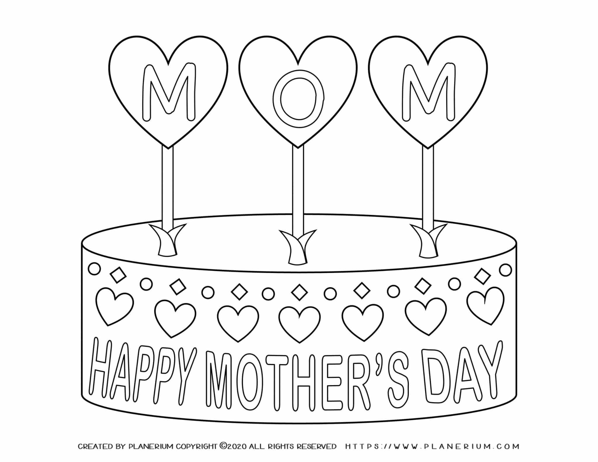 Mother's day - Coloring Page - Happy Mother's Day Cake