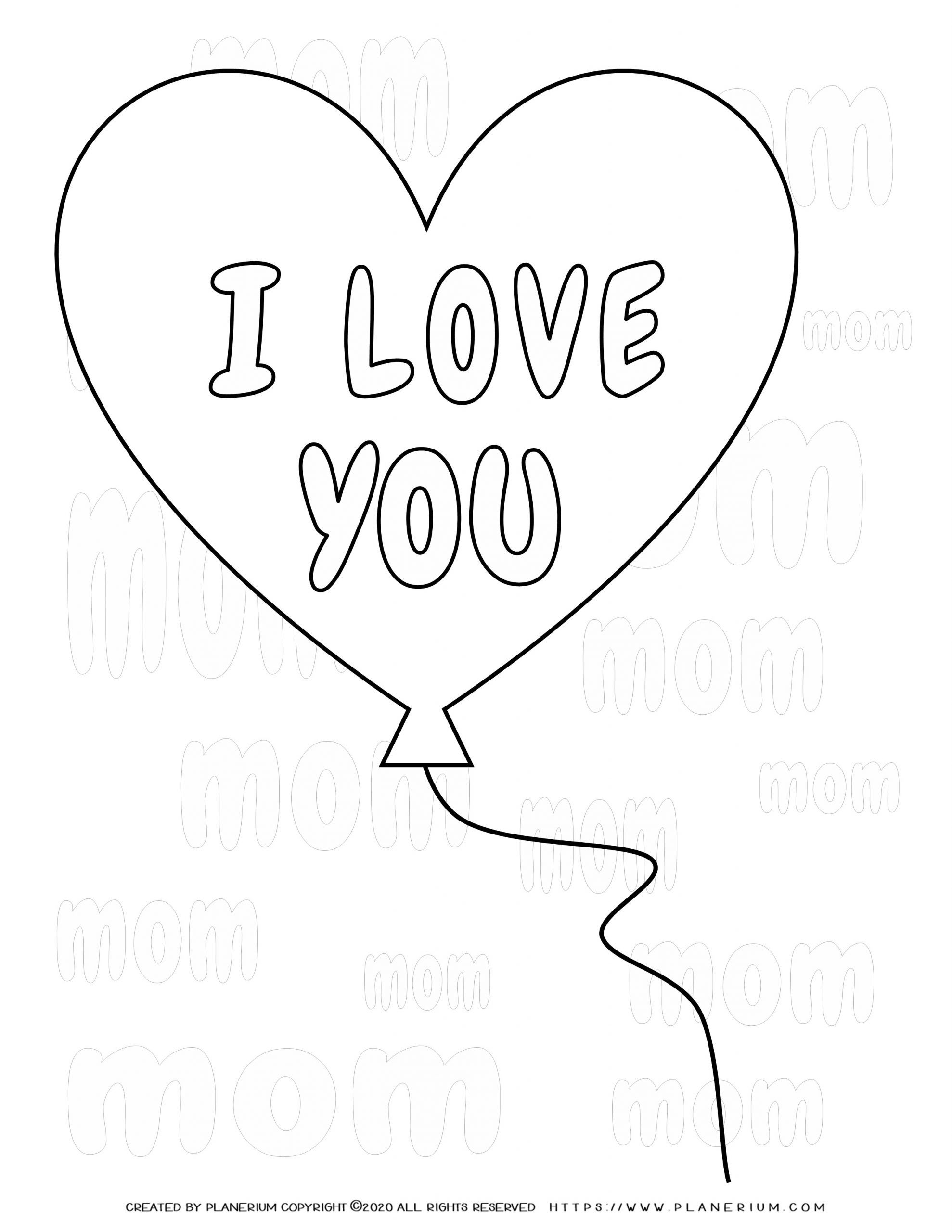 Mother's day - Coloring Page - Heart balloon I Love You Mom