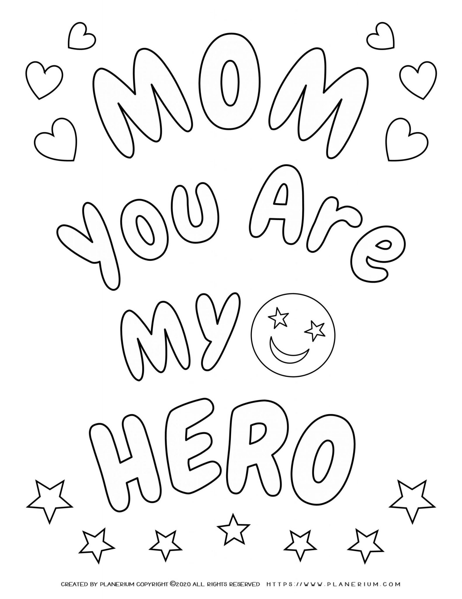 Mother's day - Coloring Page - Your'e my Hero