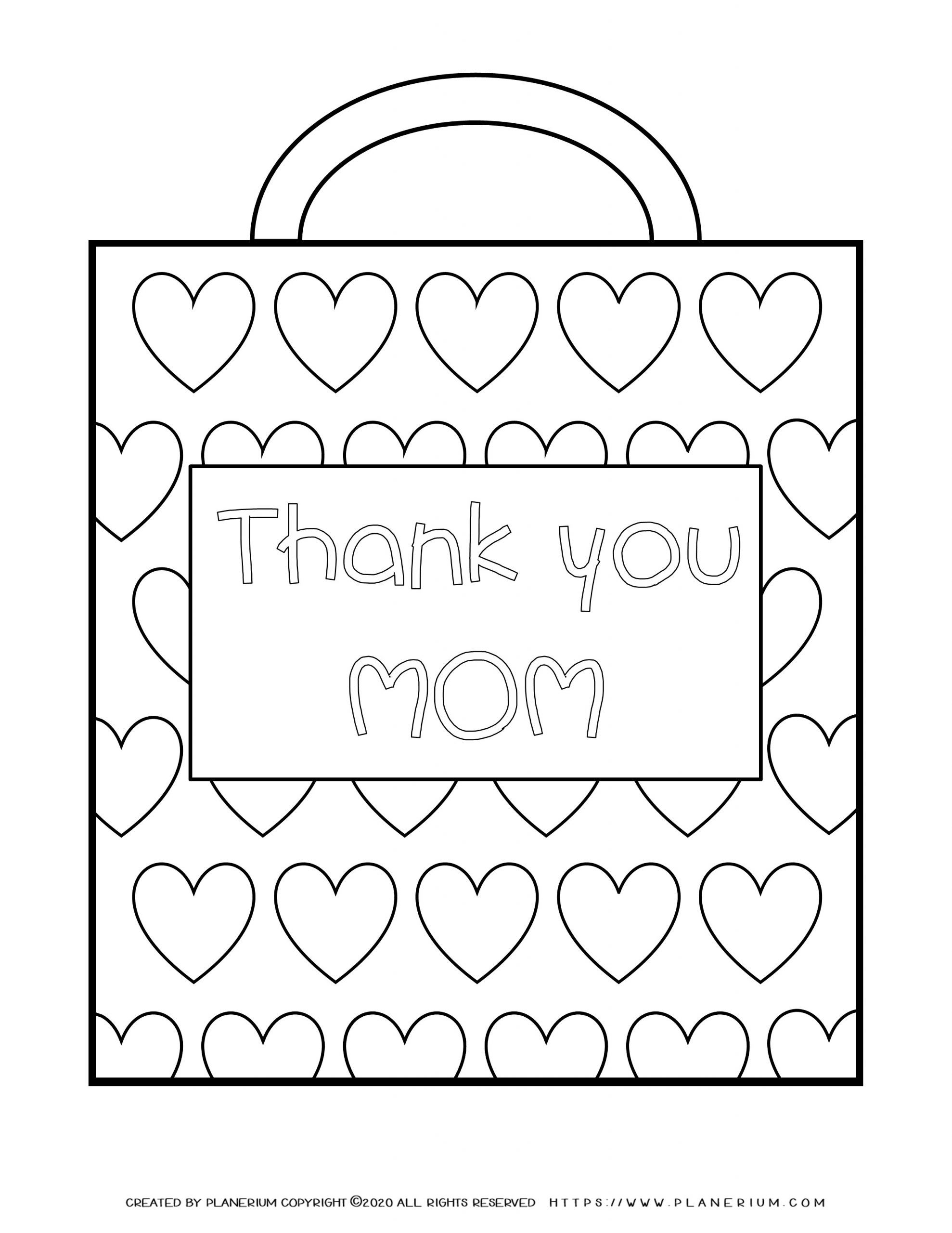 Mother's day - Coloring Page - Thank you Mom Present bag
