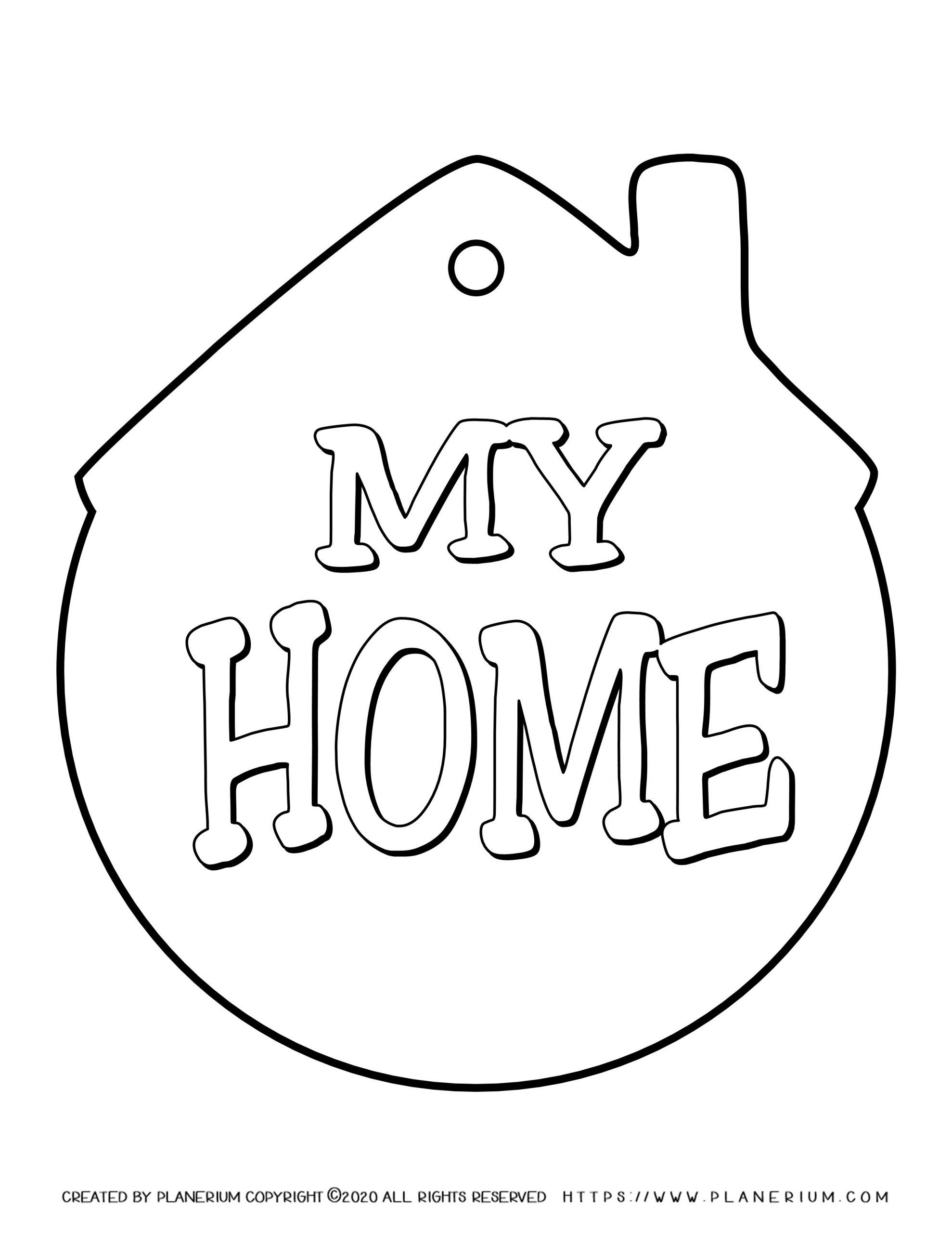 My Home - Coloring Page - My Home Tag