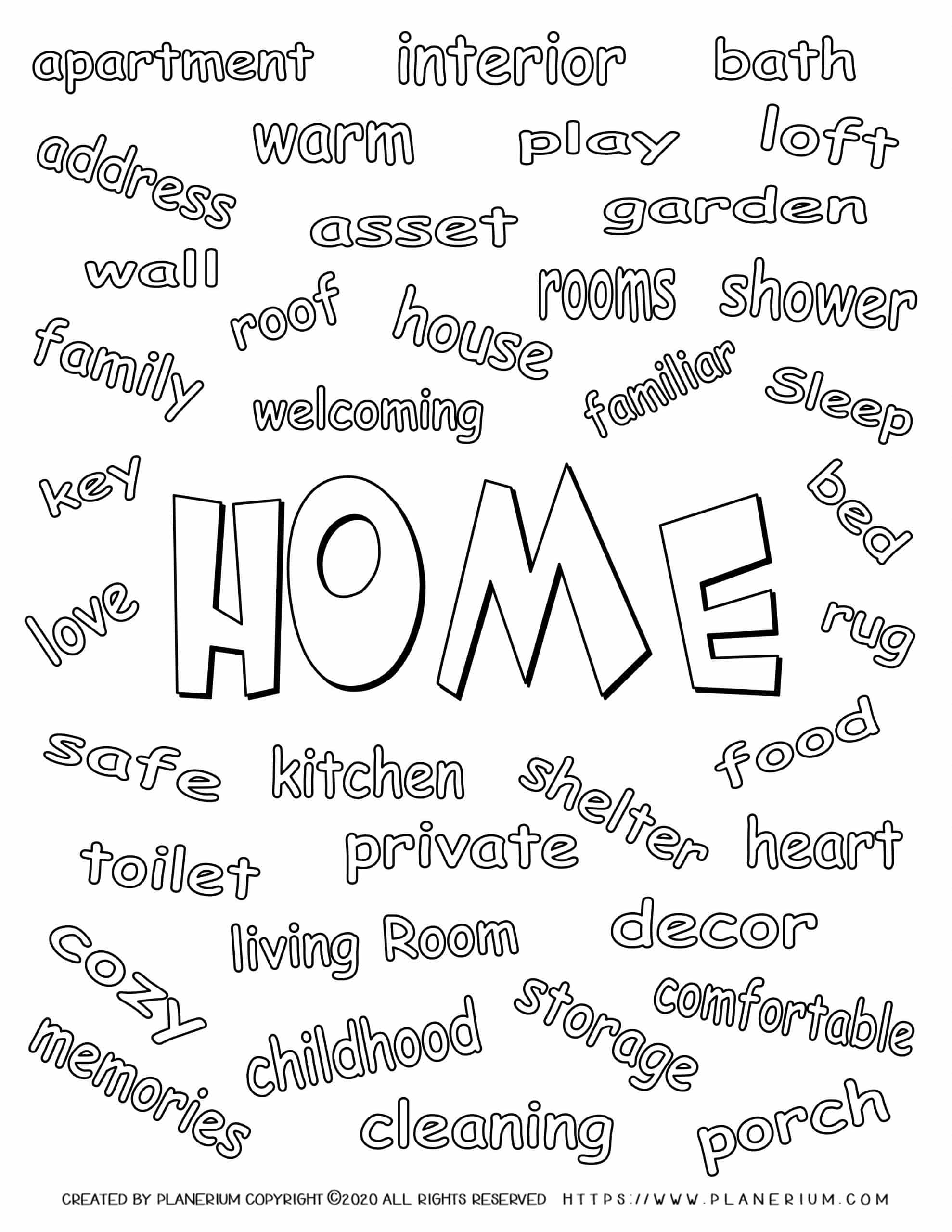 My Home - Coloring Page - Related Words