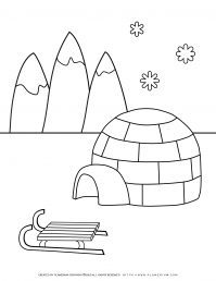 Winter Coloring Page - Igloo and Slide | Planerium