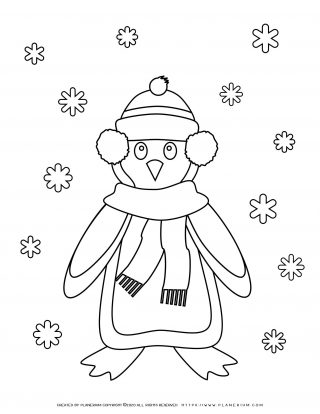 Winter Coloring Page - Penguin and Snowflakes | Planerium