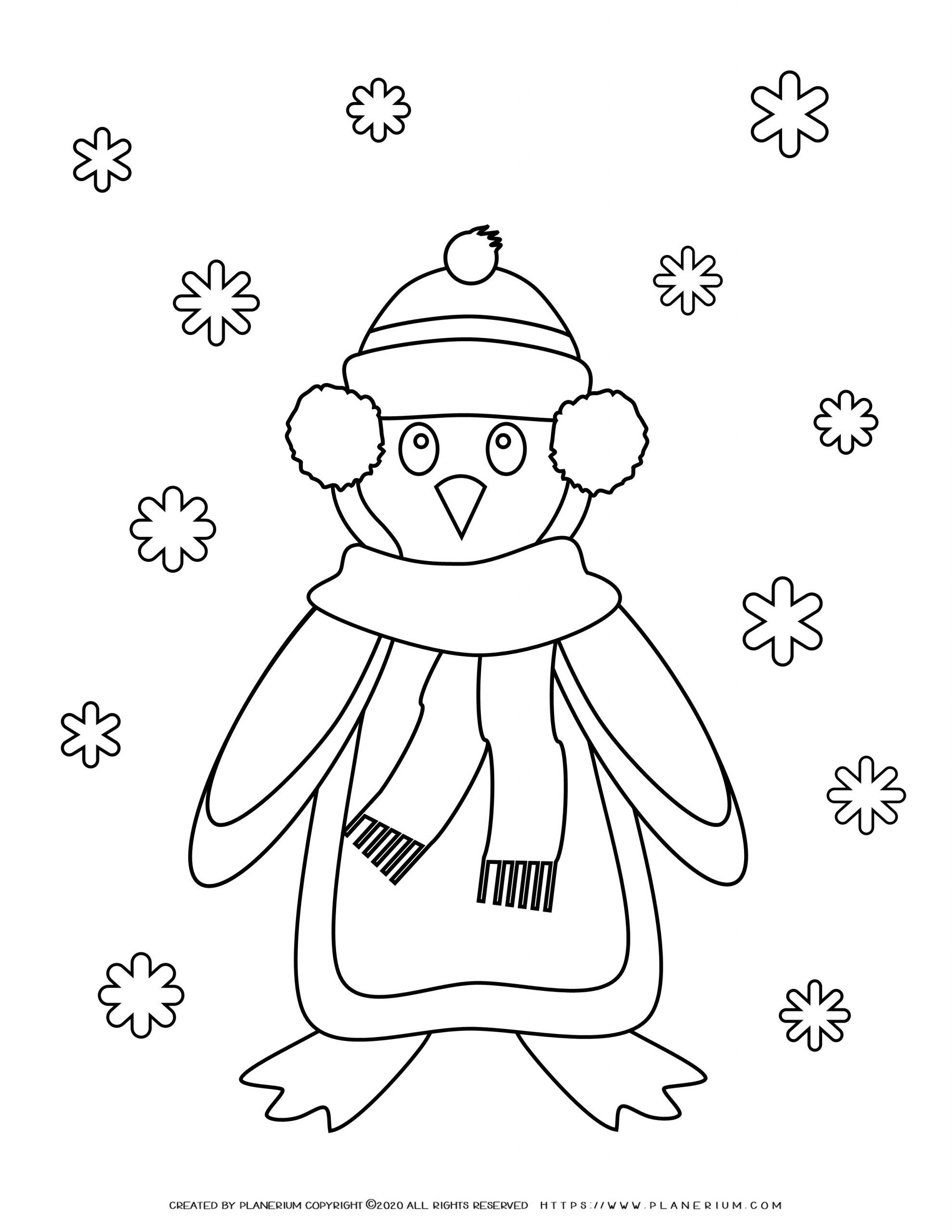 Winter Coloring Page - Penguin and Snowflakes   Planerium