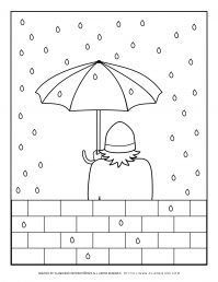 Winter Coloring Page - Standing in the Rain | Planerium