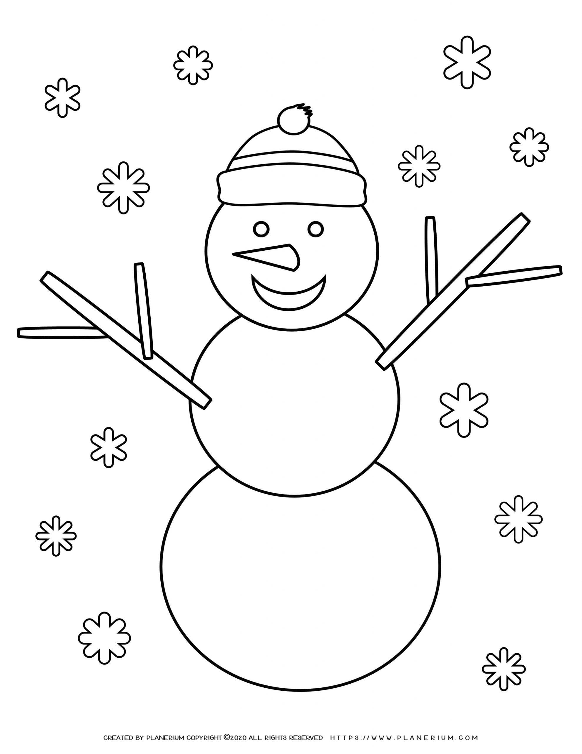 Winter Coloring Page - Snowman   Planerium