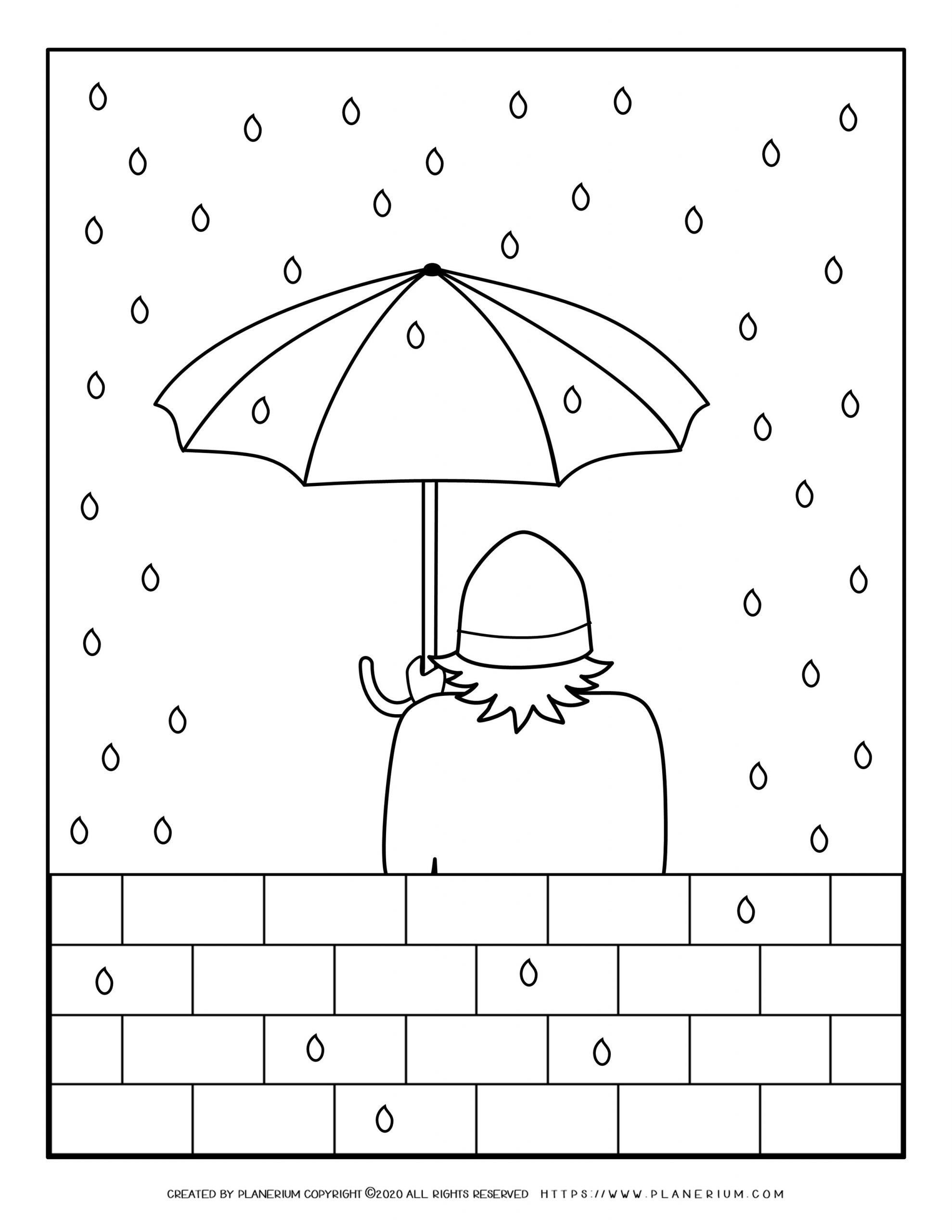 Winter Coloring Pages Standing In The Rain Planerium