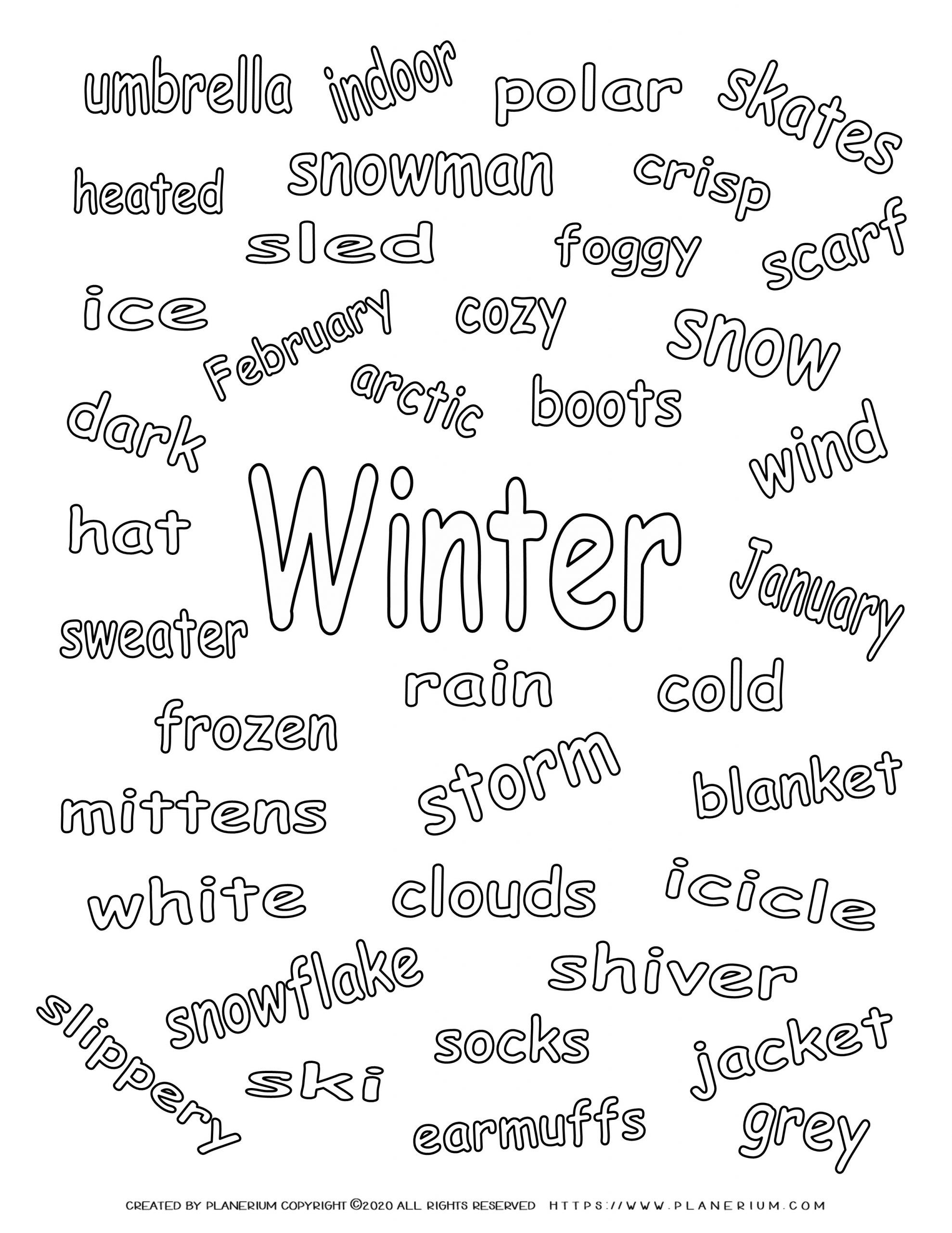 Winter Coloring Page - Related Words | Planerium