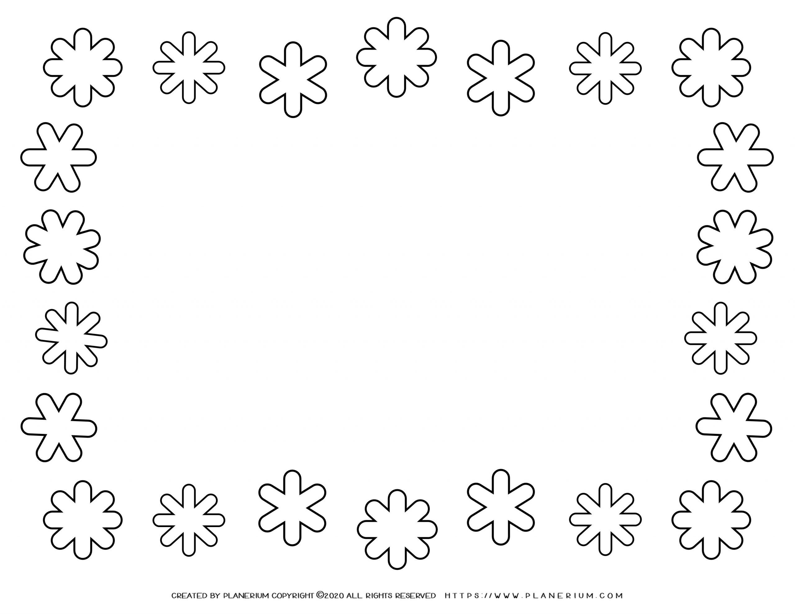Winter Coloring Page - Snowflakes Frame | Planerium