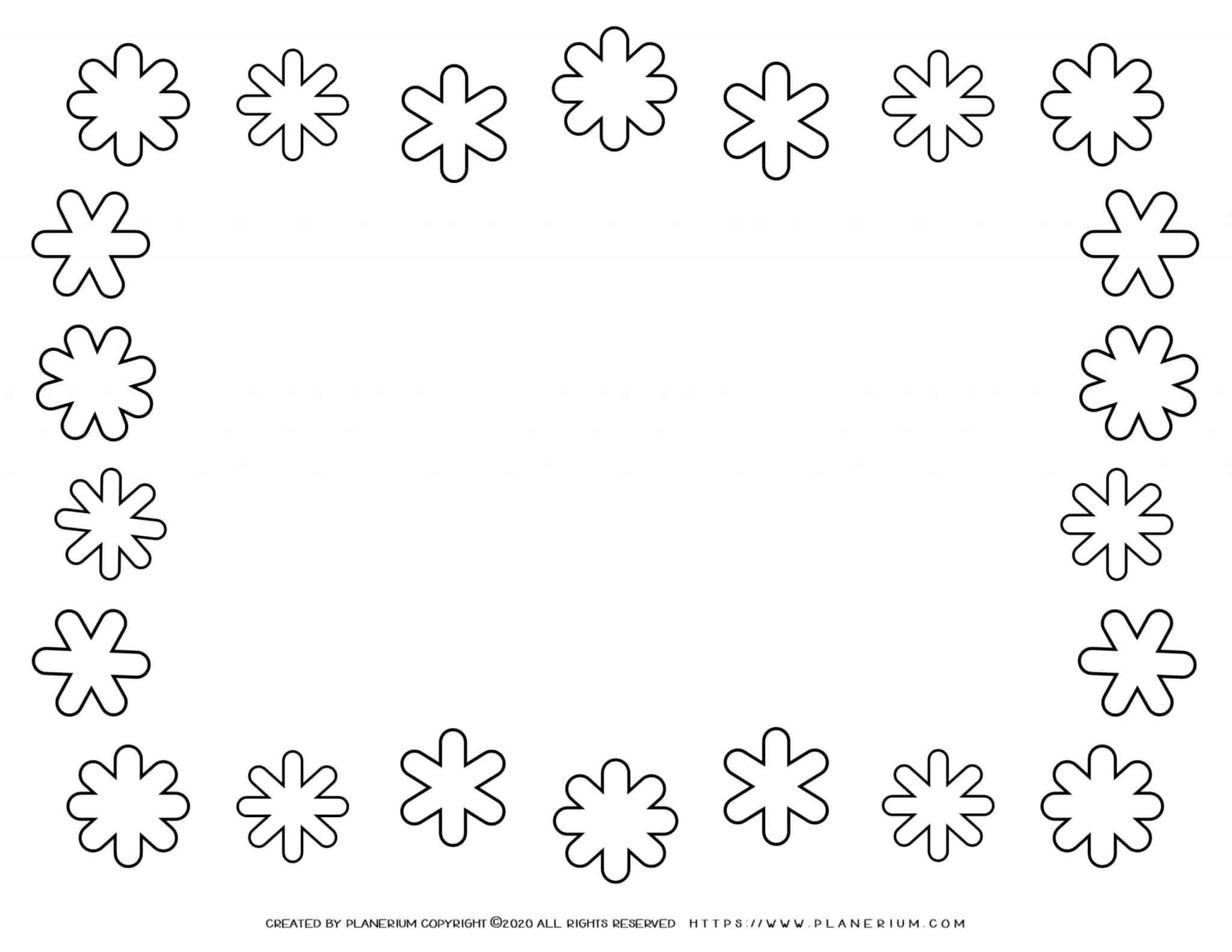 Winter Coloring Page - Snowflakes Frame   Planerium