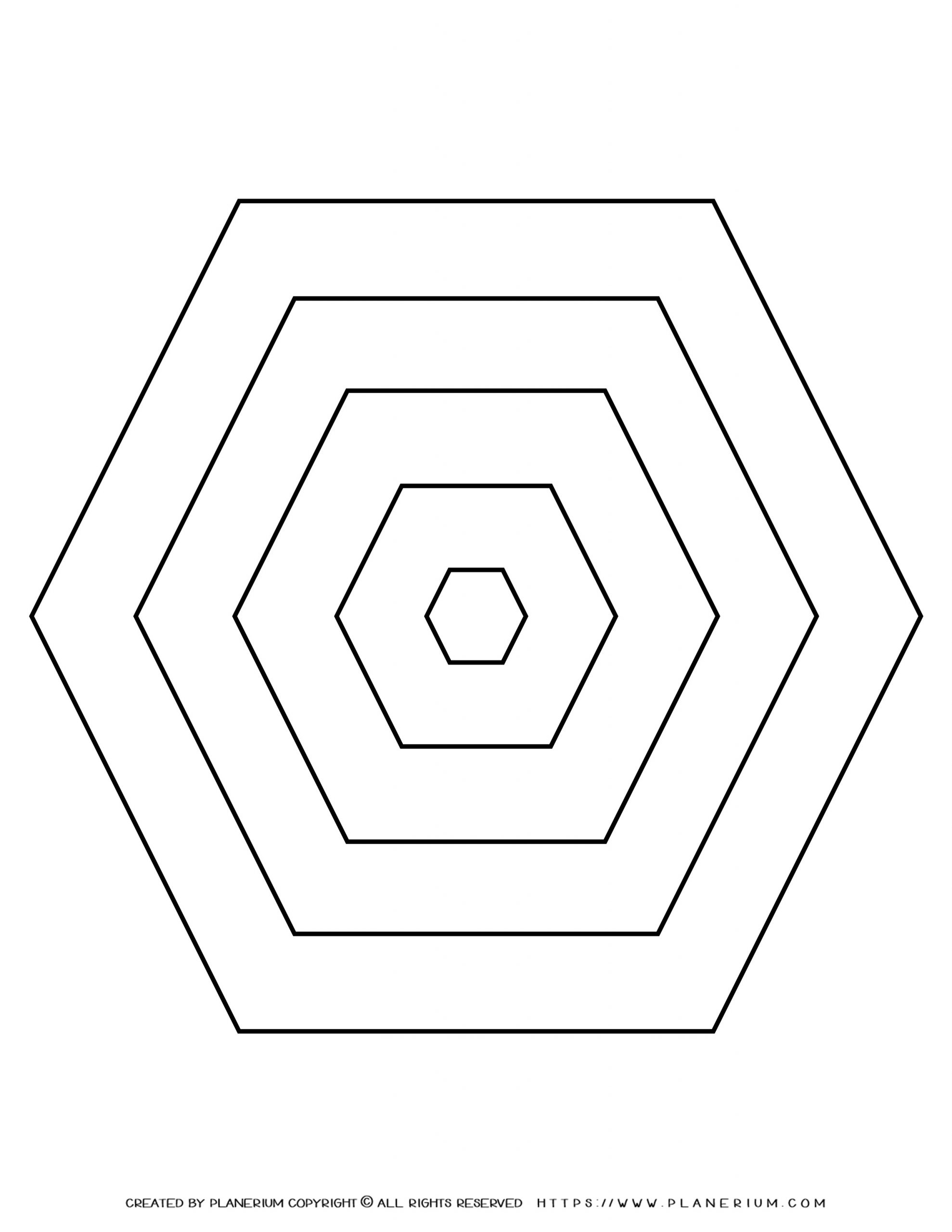 All Seasons - Coloring Page - Five Nested Hexagons
