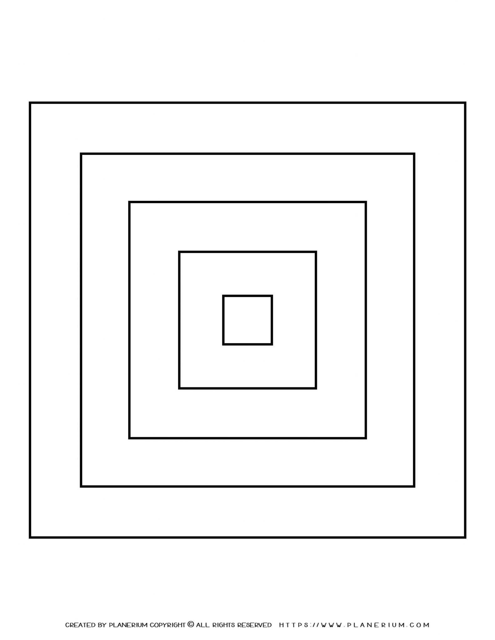 All Seasons - Coloring Page - Five Nested Squares