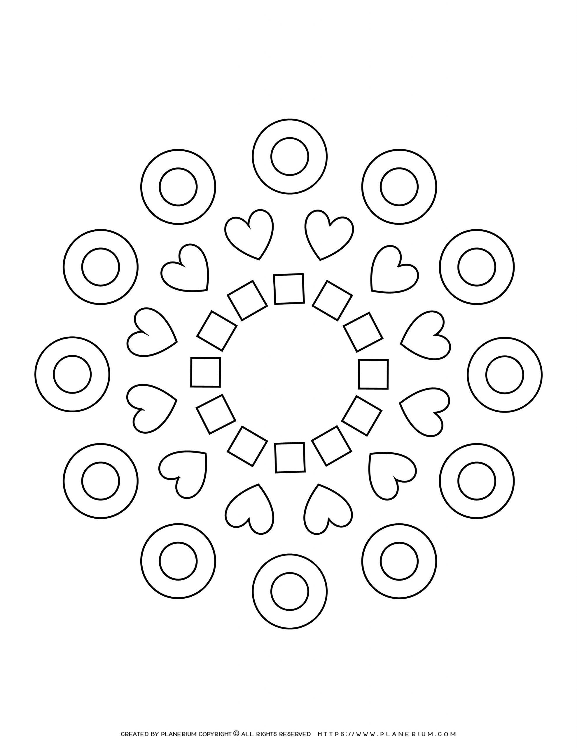 All Seasons - Coloring Page - Hearts and Rings Mandala