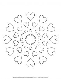 All Seasons - Coloring Page - Hearts Mandala