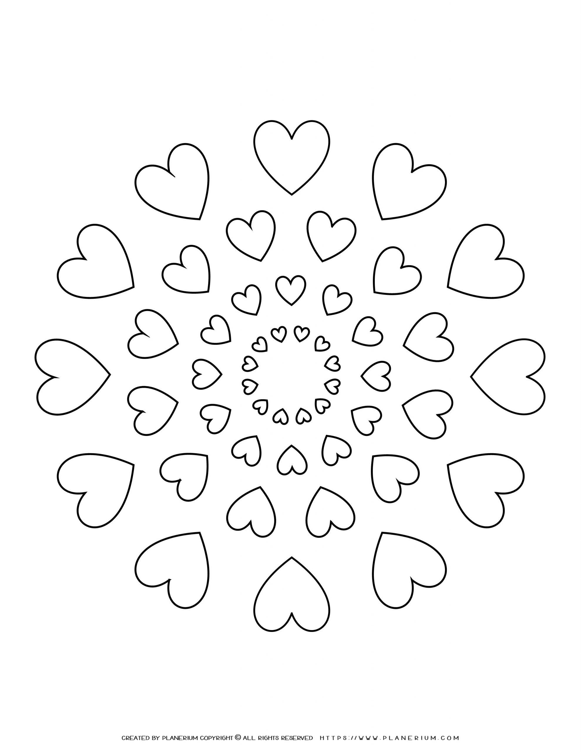 All Seasons - Coloring Page - Hearts Mandala