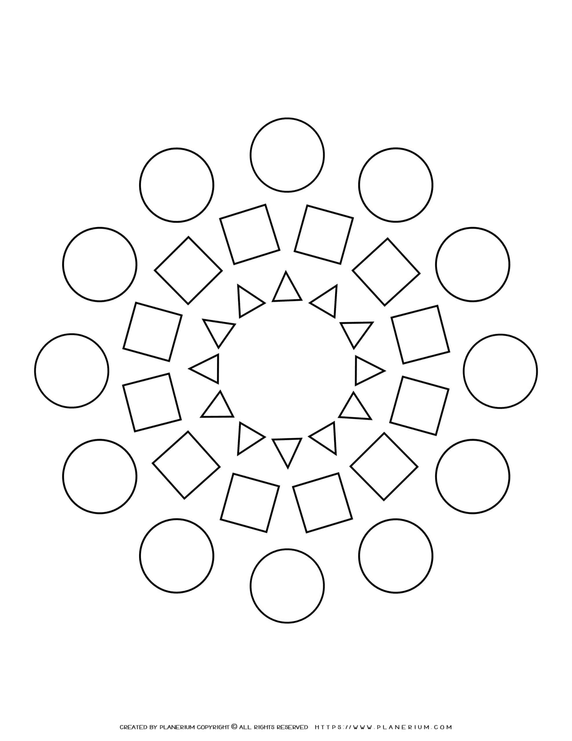 All Seasons - Coloring Page - Mixed Shapes Mandala