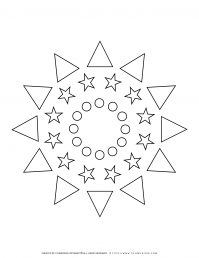 All Seasons - Coloring Page - Mixed Shapes Stars Mandala