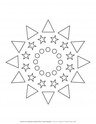 All Seasons - Coloring Page - Mixed Shapes Stars Mandala