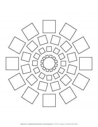 All Seasons - Coloring Page - Squares Mandala