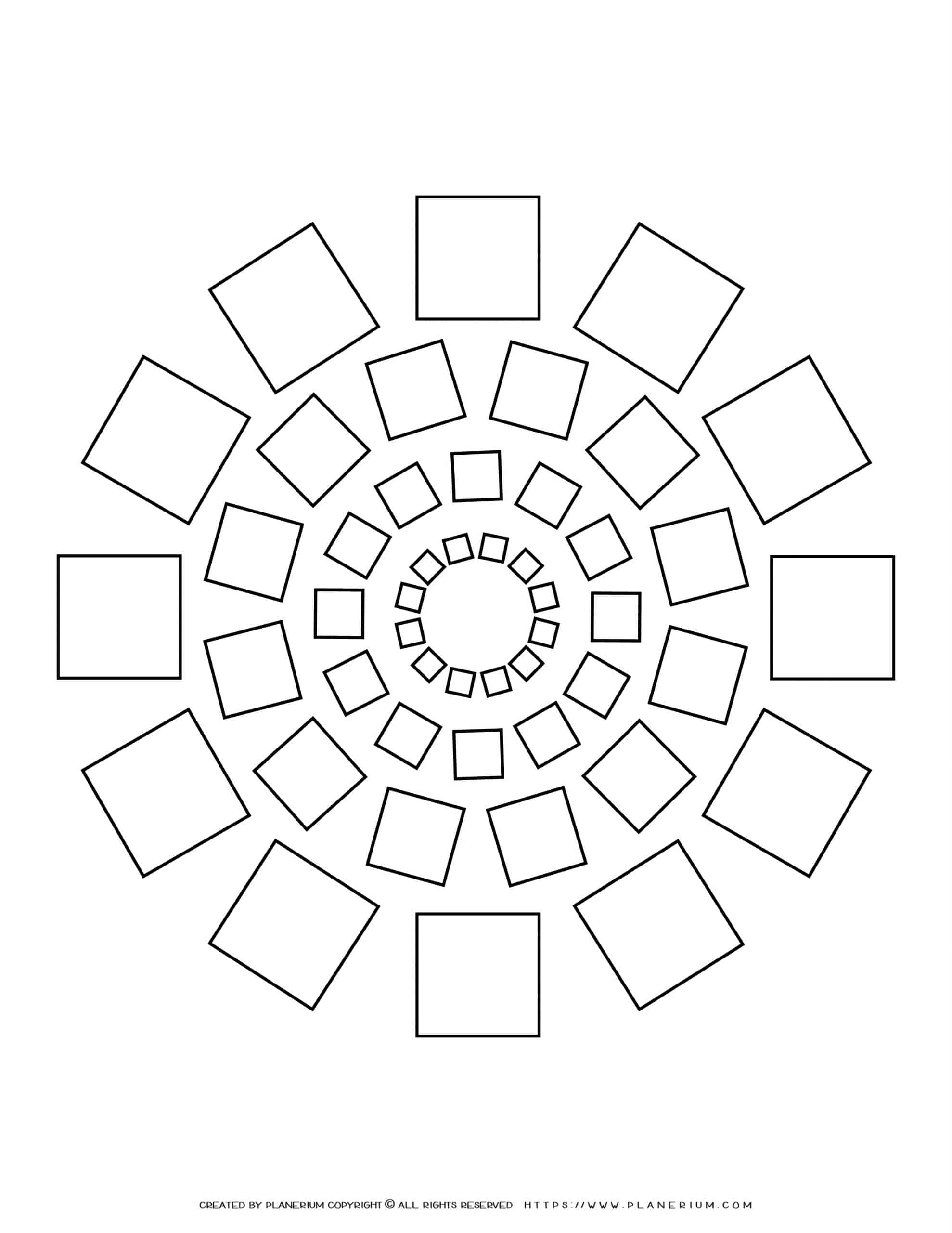 All Seasons - Coloring Page - Squares Mandala