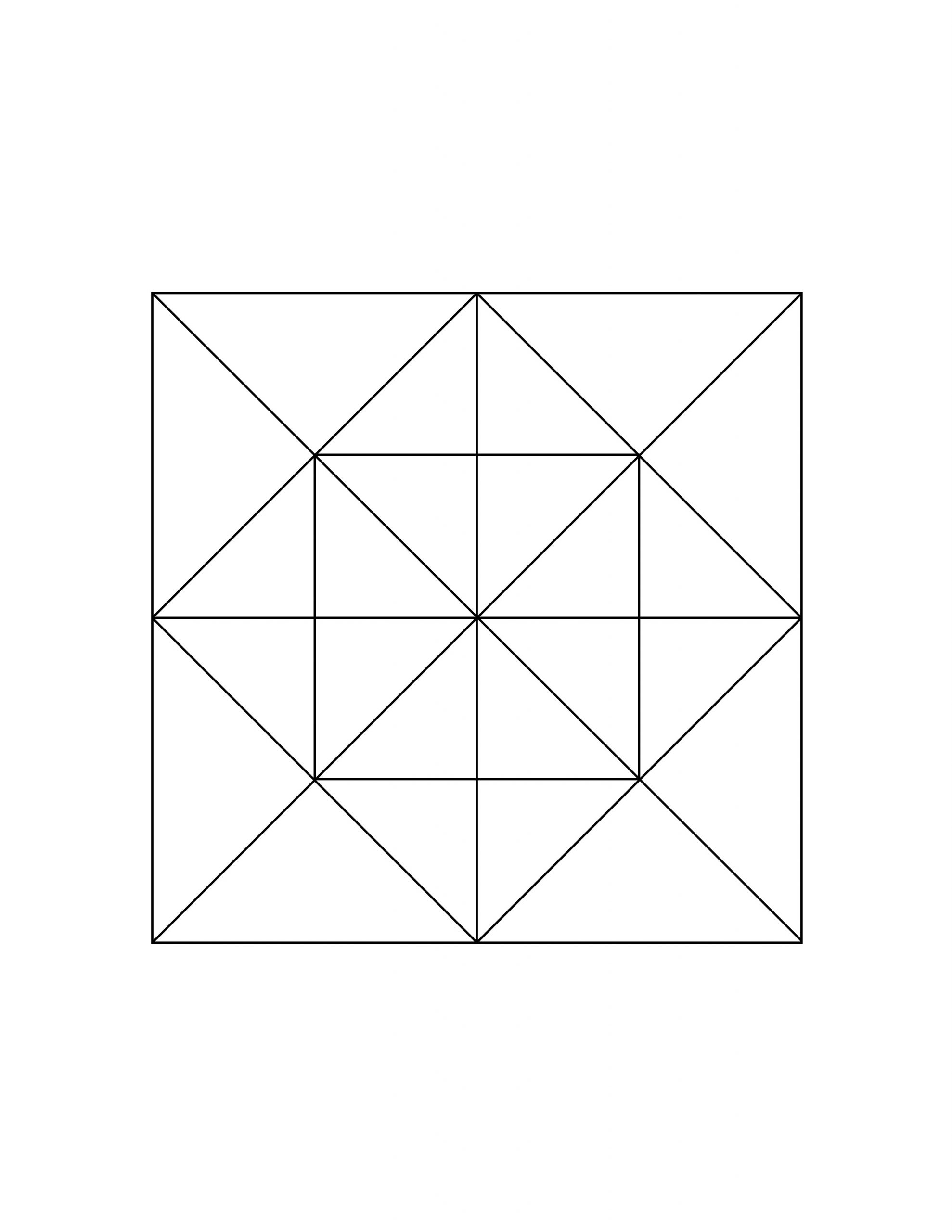All Seasons - Coloring Page - Triangles Grid in a Square