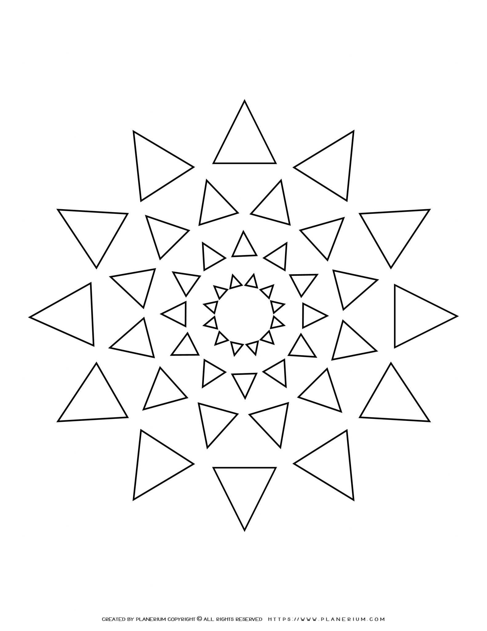 All Seasons - Coloring Page - Triangles Mandala