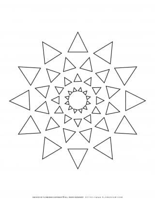 All Seasons - Coloring Page - Triangles Mandala