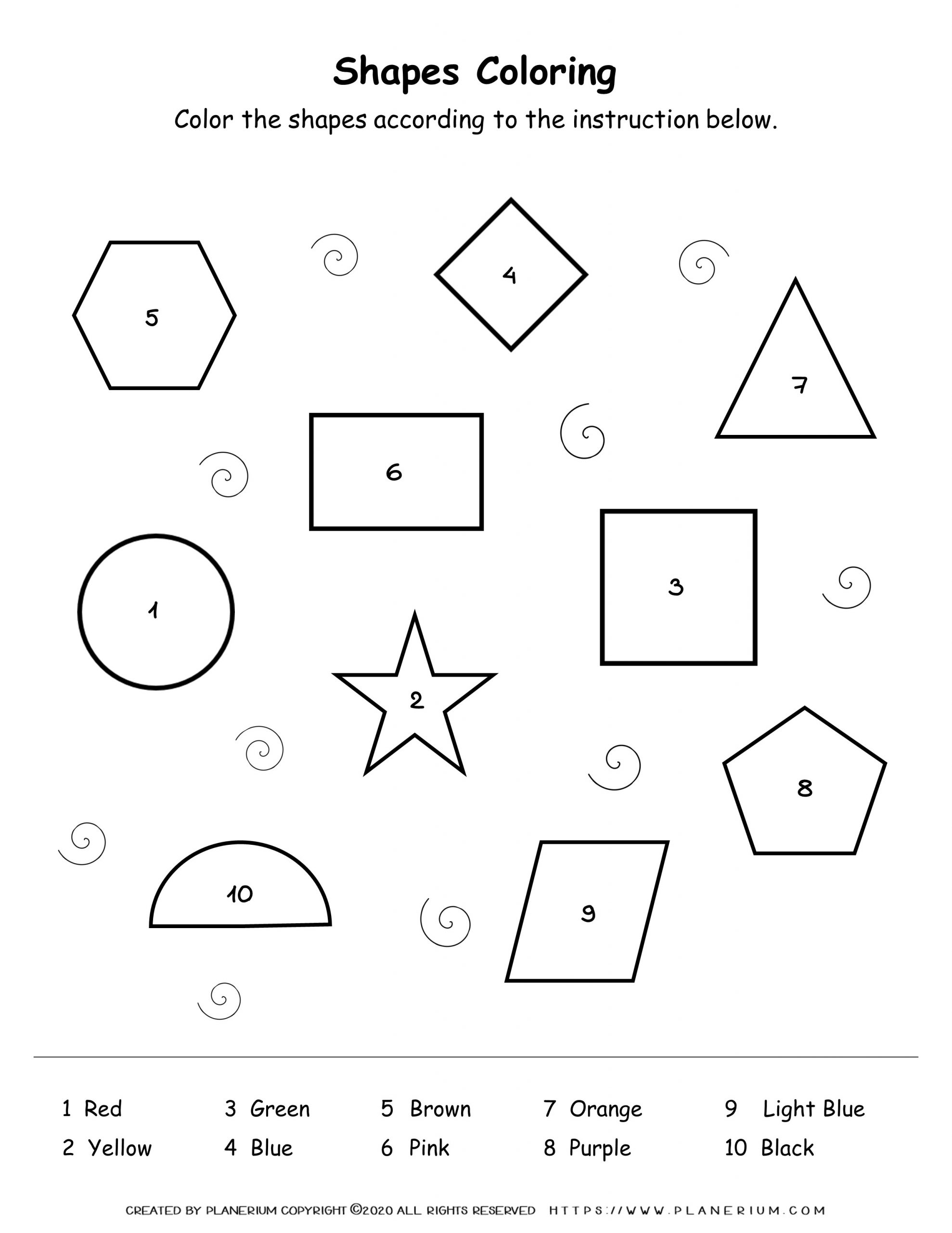 All Seasons - Worksheet - Shapes Coloring Activity