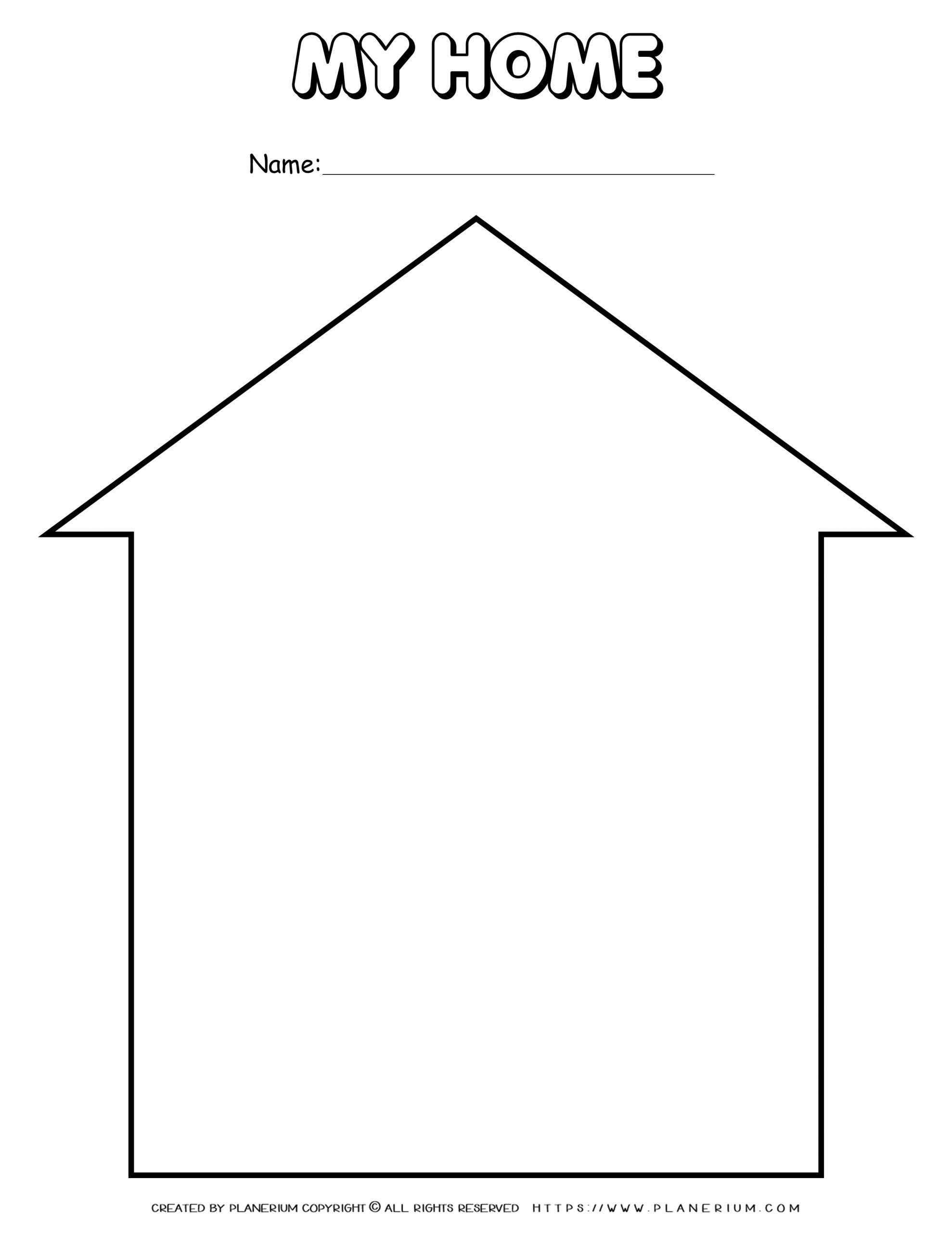 My Home - Worksheet - House Frame Template