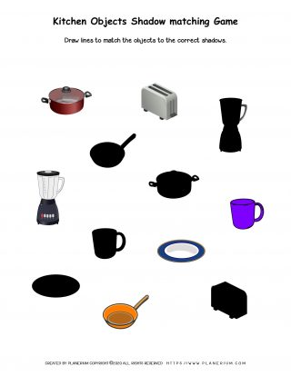 My Home - Worksheet - Kitchen Items Shadow Matching