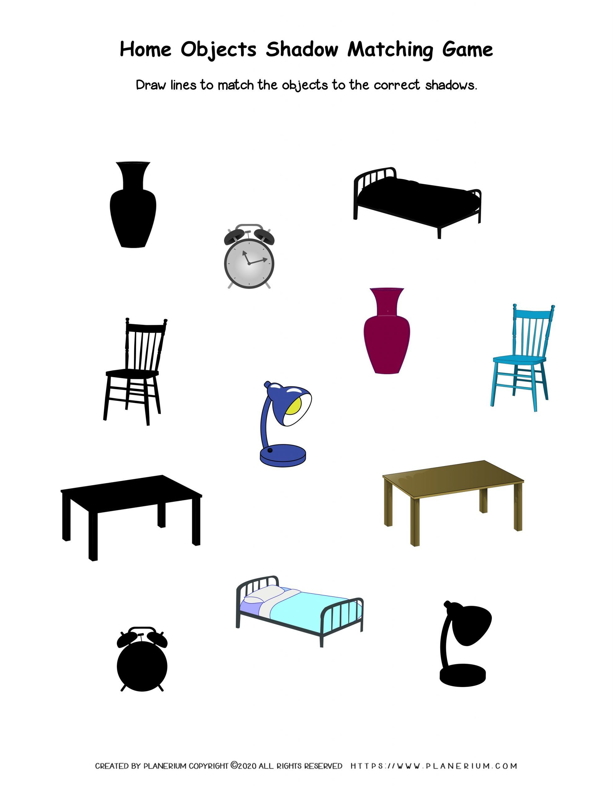 My Home - Worksheet - Objects Match to Shadow