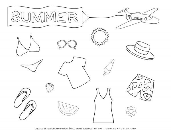 Summer - Coloring Pages - Summer Clothes