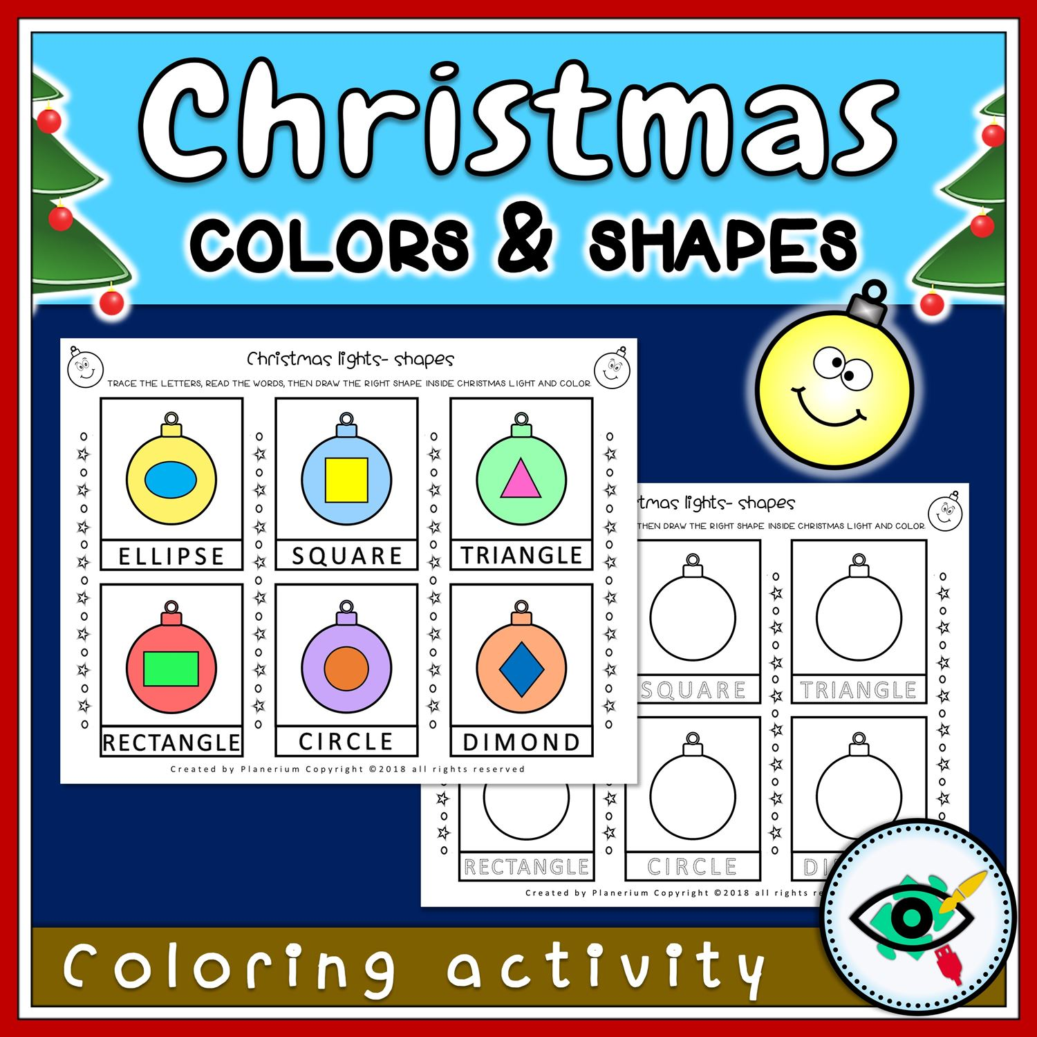 Christmas Coloring Activity - Shapes and Lights - Featured 1 | Planerium