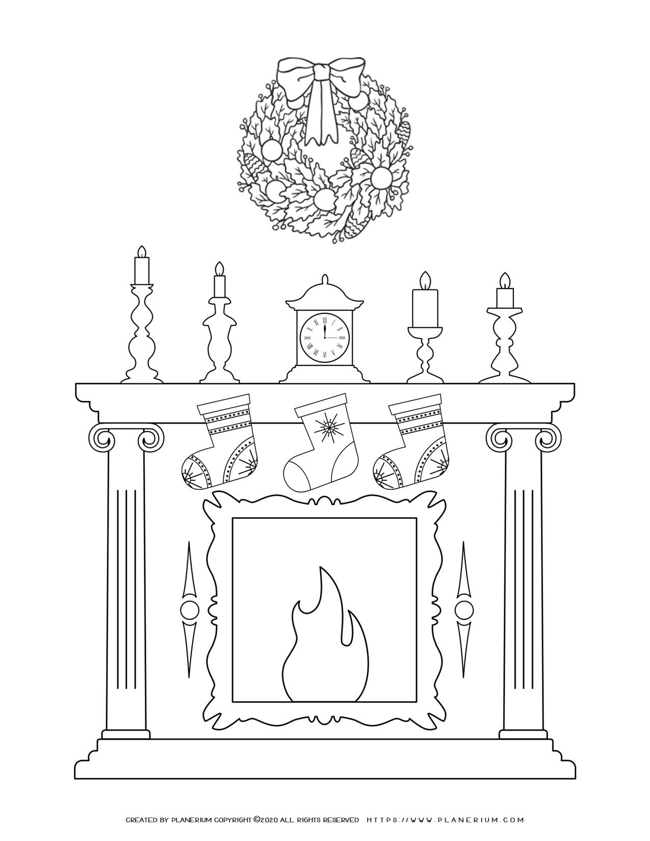 Christmas Fireplace Coloring Page | Free Printables | Planerium