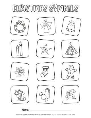Christmas Symbols Coloring Page   Free Printables   Planerium